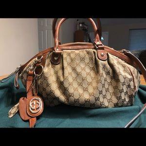 Gucci Sukey Canvas Leather Handbag Purse Authentic